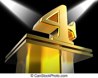 Golden Four On Pedestal Means Movie Awards Or Prizes -...