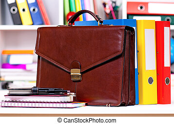 Briefcase - Brown leather briefcase with office accessories,...