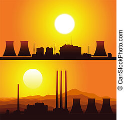 Silhouettes of a nuclear power plants at sunset. Vector...