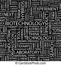 BIOTECHNOLOGY Seamless pattern Word cloud illustration