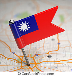 Taiwan Small Flag on Map Background - Small Flag of Taiwan...