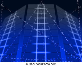 Blue Binary Circuit Background Meaning Digital Communication Or Cyberspace