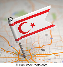 North Cyprus Small Flag on a Map Background. - Small Flag of...