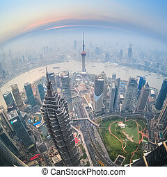 fisheye view of shanghai at dusk with aerial