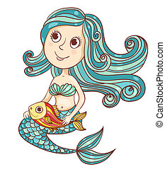Mermaid with fish isolated on white Vector cartoon...
