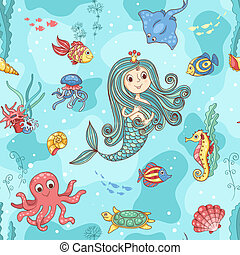 Seamless pattern with mermaid princess Vector cartoon...