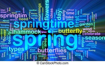Spring wordcloud glowing