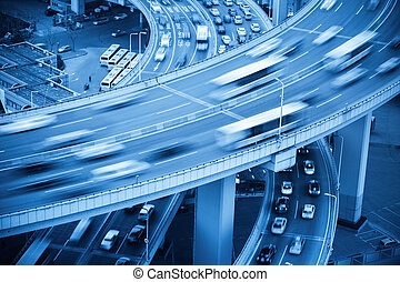 busy traffic closeup - closeup of vehicles motion blur on...