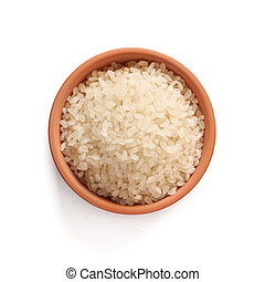 rice - Chinese blanched rice spilling out over a white...