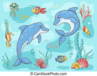 Two dolphins in the sea Vector cartoon illustration