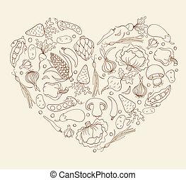 Heart from vegetables. Vector cartoon illustration. Sketch.