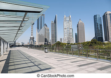 cityscape of shanghai financial center on sightseeing...