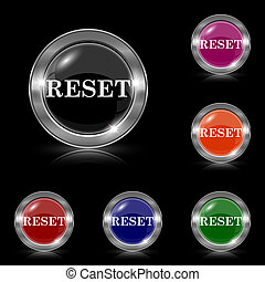 Reset icon - Silver shiny icons - six colors vector set -...