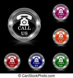 Call us icon - Silver shiny icons - six colors vector set -...