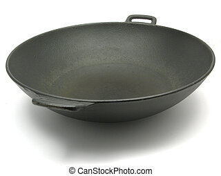 A big black wok for cooking on white
