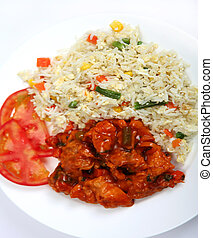 Chicken sweet and sour with rice