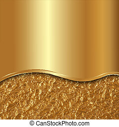 Vector abstract gold background with curve and foil - Vector...