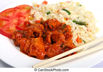 Chicken sweet and sour with rice - Chinese chicken sweet and...