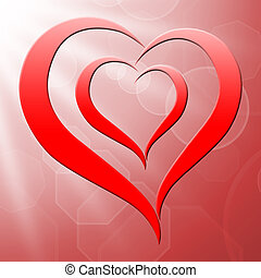Heart On Background Shows Valentines Love And Romance
