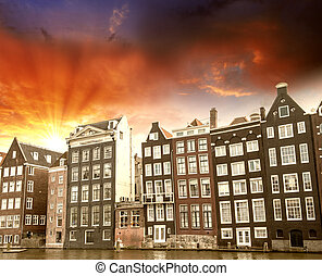 Amsterdam. Beautiful view of classic buildings with...