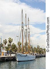Old sailing ship in the harbor of Barcelona, Spain