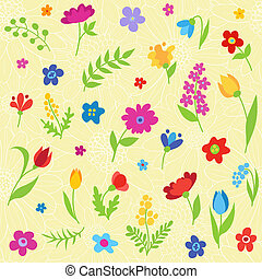 Beautiful seamless pattern with spring flowers