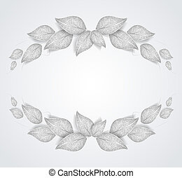 silver leaves - Decorative frame with silver leaves