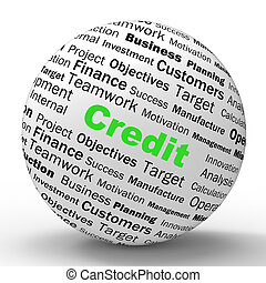 Credit Sphere Definition Showing Cashless Purchases Or Financial Loans