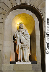 King Statue at the Placa de Sant Jaume in Barcelona, Spain