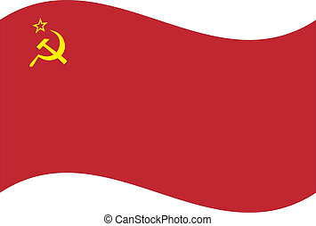 Vector flag. USSR - Waving flag of USSR isolated. Vector...
