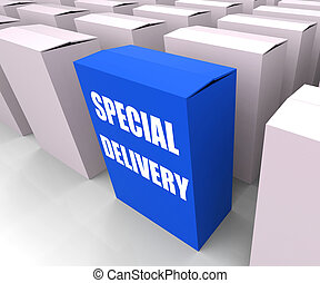 Special Delivery Box Shows Secure and Important Shipping -...