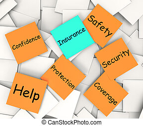 Insurance Post-It-Note Means Financial Protection And Security