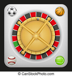 Symbol roulette casino for sports betting with balls. -...