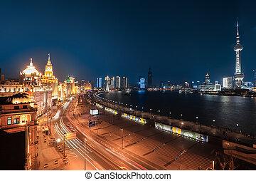 shanghai bund night view - shanghai bund at night and...