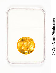 Gold Indian Head Dollar in Case - Antique gold coin in a...