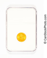 Gold Coin in Case - Antique gold coin in a collectors case...