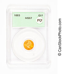 Gold Dollar Coin in Graded Case - Antique gold coin in a...