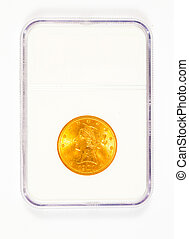 Gold Liberty Head Coin in Case - Antique gold coin in a...