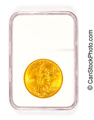 Gold St Gaudens Coin in Grading Case - Antique gold coin in...