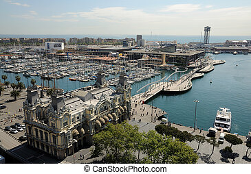 Aerial view over Port Vell - the old harbour district in...