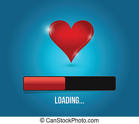 love loading bar illustration design over a blue background