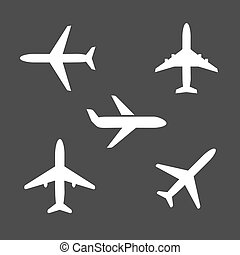 Five different airplane silhouette icons viewed from the...
