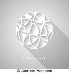 Global network icon - Paper white global network icon with...