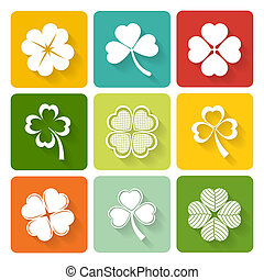 Set of shamrock and clover icons on colorful square buttons...