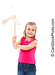 Child with colorful windmill toy