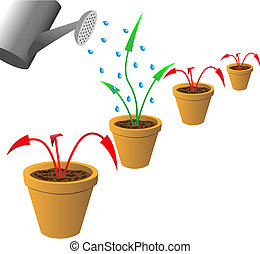 Arrows in flowerpots - Red withered and green growing arrows...