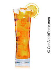 Iced tea glass - Big glass of iced tea with lemon