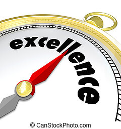 Excellence Word Gold Compass Great Direction Aiming...