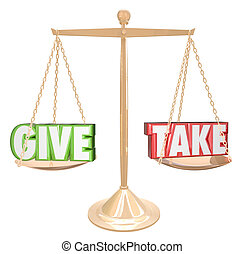 Give and Take Gold Scale Balance Sharing Generous...