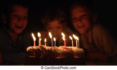 Children and Birthday Cake - Three children having fun...